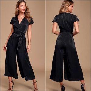 Lulus Simply Sleek Culottes Jumpsuit Black Satin S